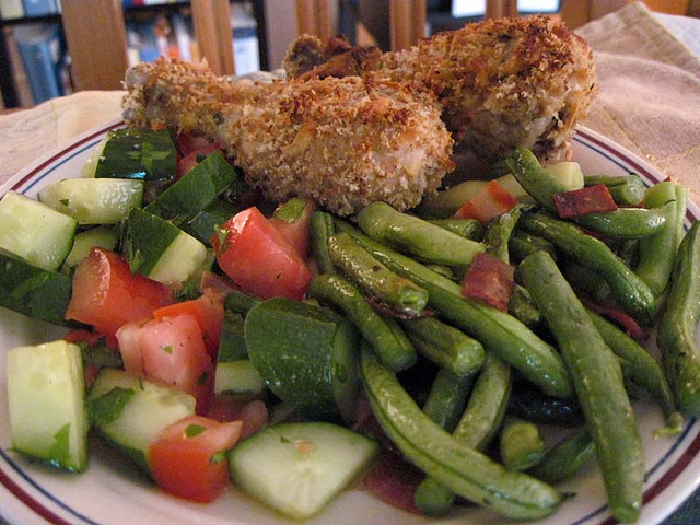 Baked Buttermilk Chicken With Green Bean Salad